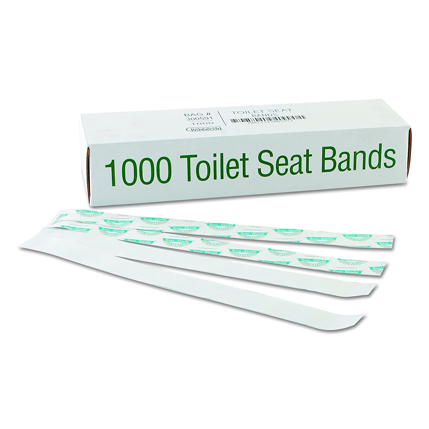 Bagcraft 300591 Sani/Shield Printed Toilet Seat Band, Paper, Blue/White, 16' Wide x 1-1/2' Deep (Case of 1000) 16 Wide x 1-1/2 Deep (Case of 1000) Packaging Dynamics BGC300591