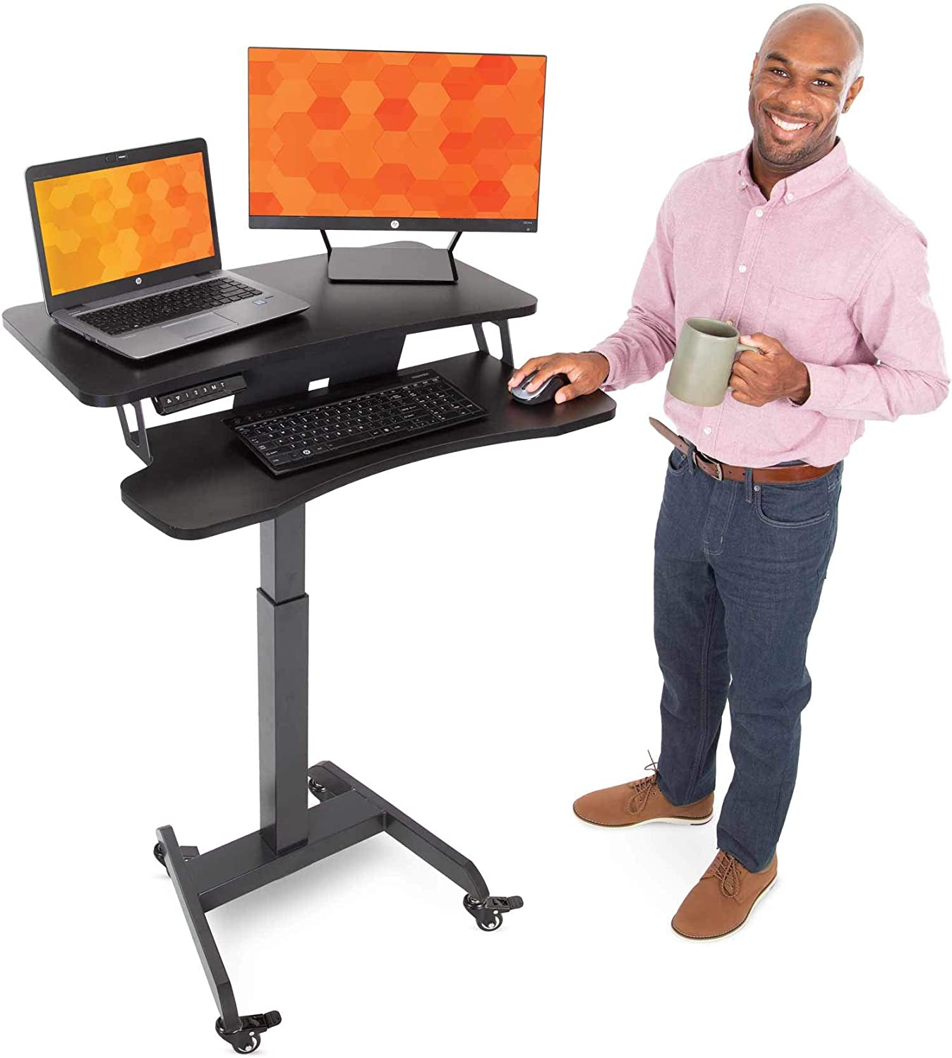 Stand Steady Electric Mobile Podium w/Keyboard Tray – Height Adjustable Stand Up Workstation w/Locking Wheels – Smoothly and Easily Go from Sitting to Standing w/Programmable Control Pad (32 x 25)