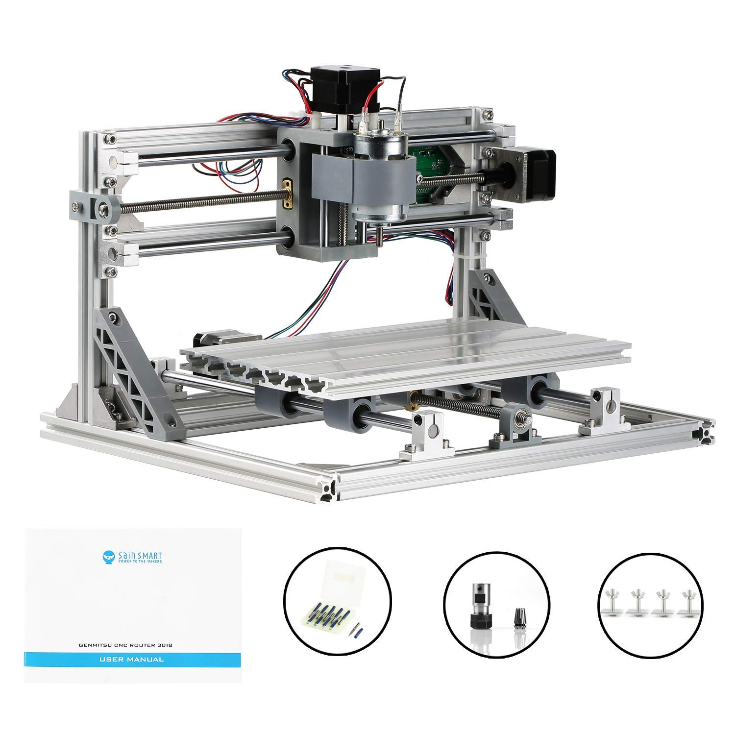 Genmitsu CNC 3018 Router Kit GRBL Control 3 Axis Plastic Acrylic PCB PVC  Wood Carving Milling Engraving Machine