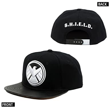 4d29c8fcff0 Amazon.com  Marvel Shield Logo Pu Snapback Cap Hat One Size Adult Sz ...