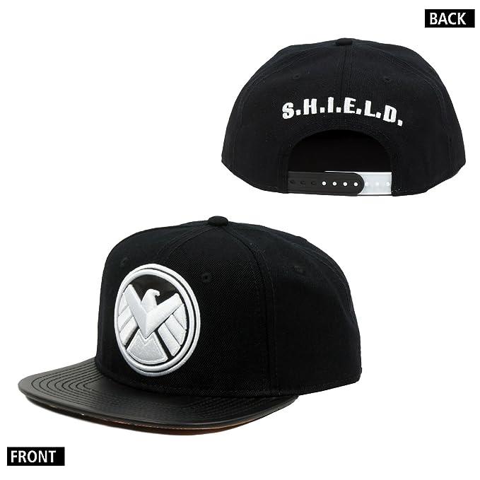 Amazon.com  Marvel Shield Logo Pu Snapback Cap Hat One Size Adult Sz ... fa9b8c3d9bac