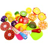 Inxens Fruit Cutting Toys Cutting Velcro Fruit Vegetables Pretend Play Food Set of 13