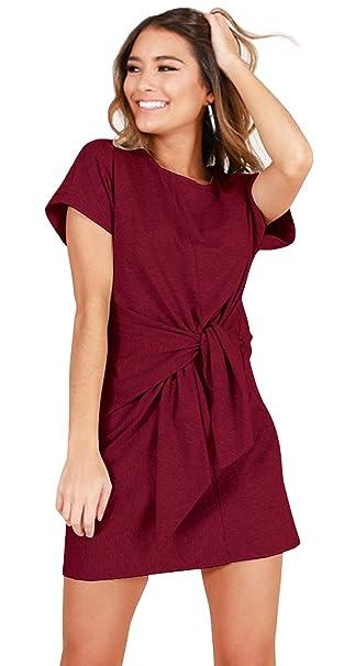 ALAIX Vendaje de Las Mujeres Elegante Manga Corta Desgaste para Trabajar  Lápiz Vestido Casual Vino Rojo-XL  Amazon.es  Ropa y accesorios b47dea5e458d