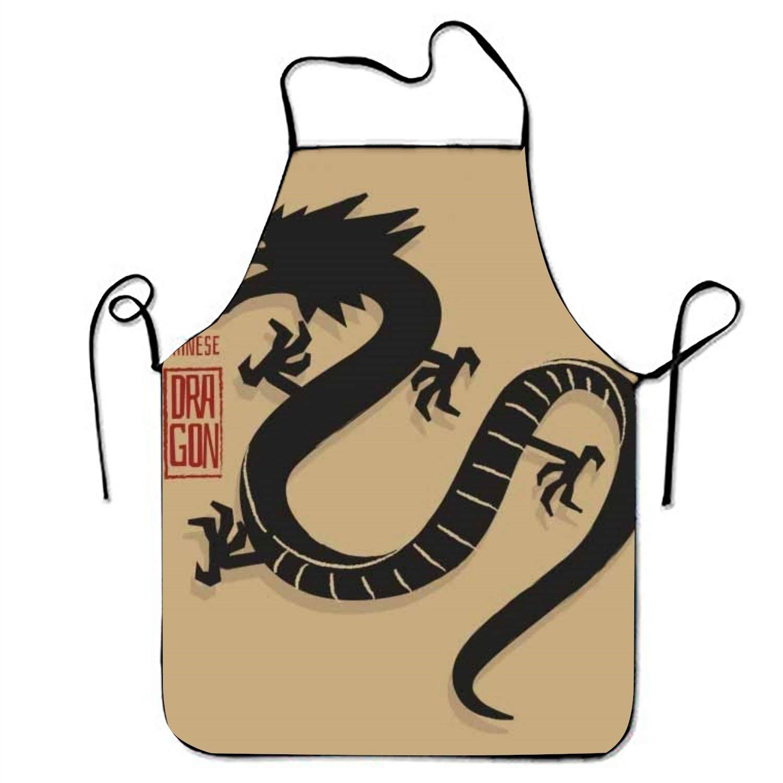 Traditional Chinese Dragon withシルエットdesign3キッチン料理エプロン女性と男性用調節可能なネックストラップレストランホームキッチンエプロンBib for、料理BBQ   B07FTKMZ8K