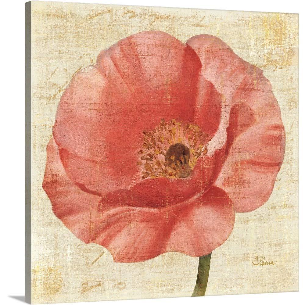 Albena Hristovaプレミアムシックラップキャンバス壁アート印刷題名Blushing Poppy onクリーム 36