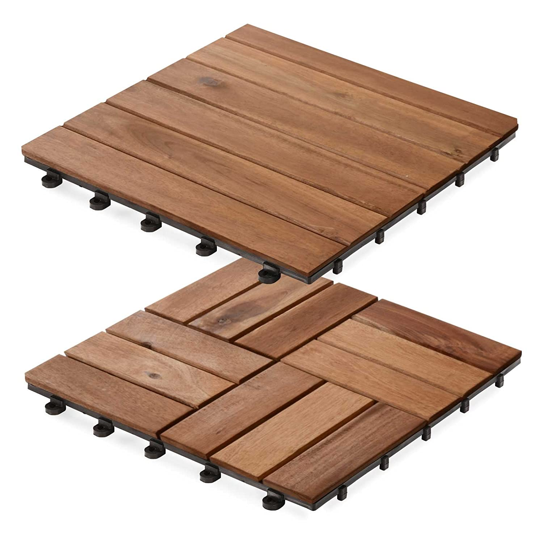 Dalles terrasse en bois casa pura Ranger | SET de 11 ou 33 pièces disponibles - bois d'acacia | stabilisées UV | 11 pièces (1m²)