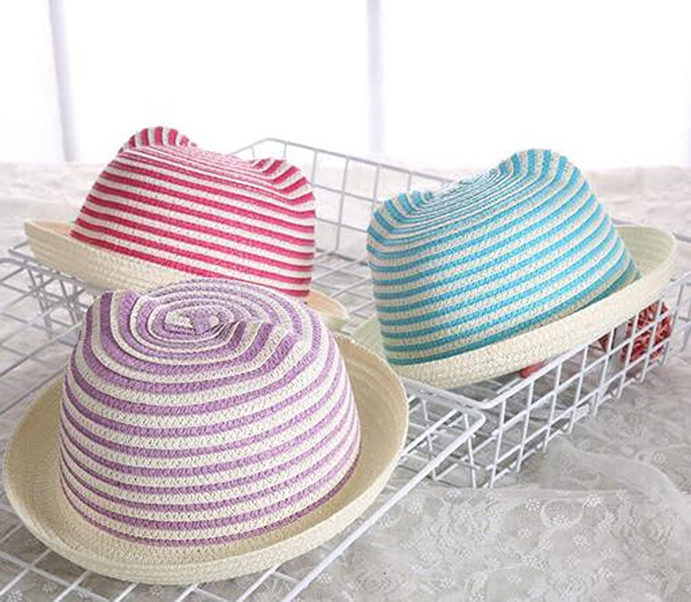 Difly/® Unisex Kids Concise Stripe Sun Bucket Crusher Fisherman Hat Outdoor Straw Beach Hat 8-Color