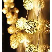 Zezkt-Home 20 LED Noel aydınlatması, rattan top ışık zinciri, ışık zinciri, pille çalışır, düğün, doğum günü, parti…