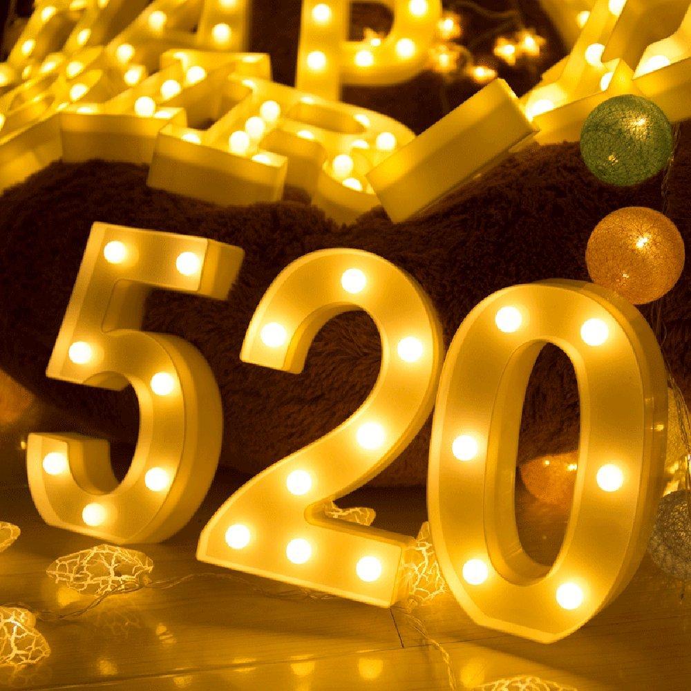 Decoraci/ón luminosa hogar decorativa digital 0-9 altura 22cm color blanco LED n/úmero de luz G