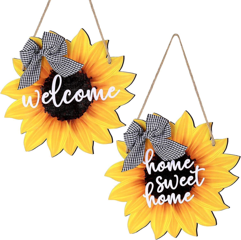 Jetec Sunflower Welcome Wood Door Hanger Home Sweet Home Sign Wooden Flower Sign Summer Fall Front Door Wreath Hanging for Bedroom Living Room Indoor Outdoor Kitchen Home Decor
