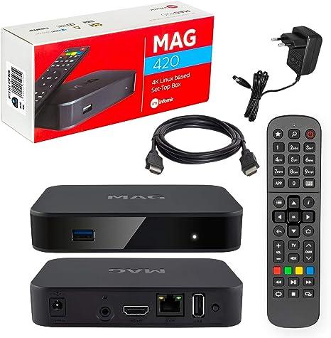 MAG 420W1 Original Infomir & HB-DIGITAL 4K IPTV Set Top Box Multimedia Player Internet Receiver # 4K UHD 60FPS 2160p@60 FPS HDMI 2.0 # HEVC H.256 Apoyo # Arm Cortex-A53 # WiFi (