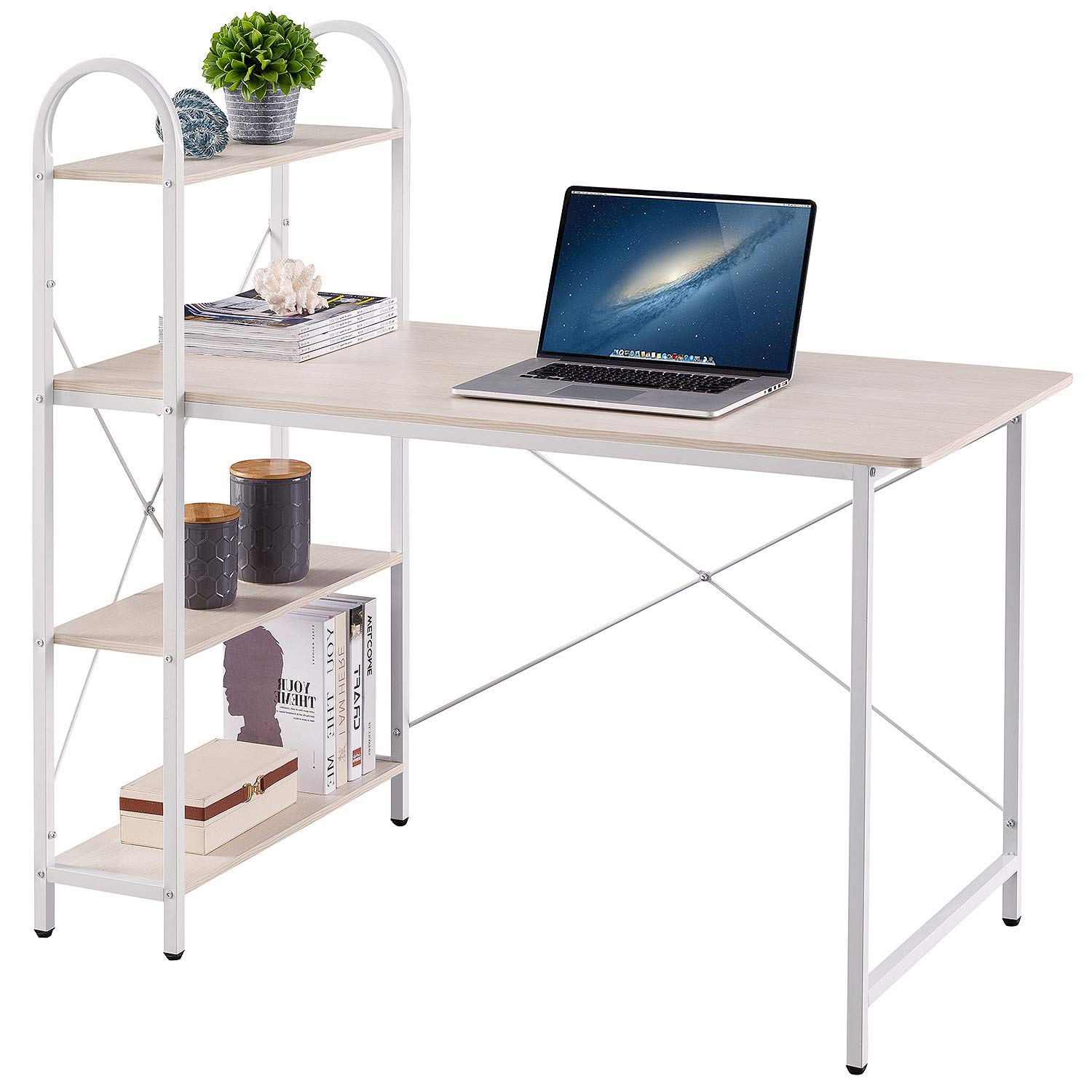 HOME BI Study Desk, Home Office Study Desk with Shelf, Wood Work-Station PC Laptop Table, White by HOME BI