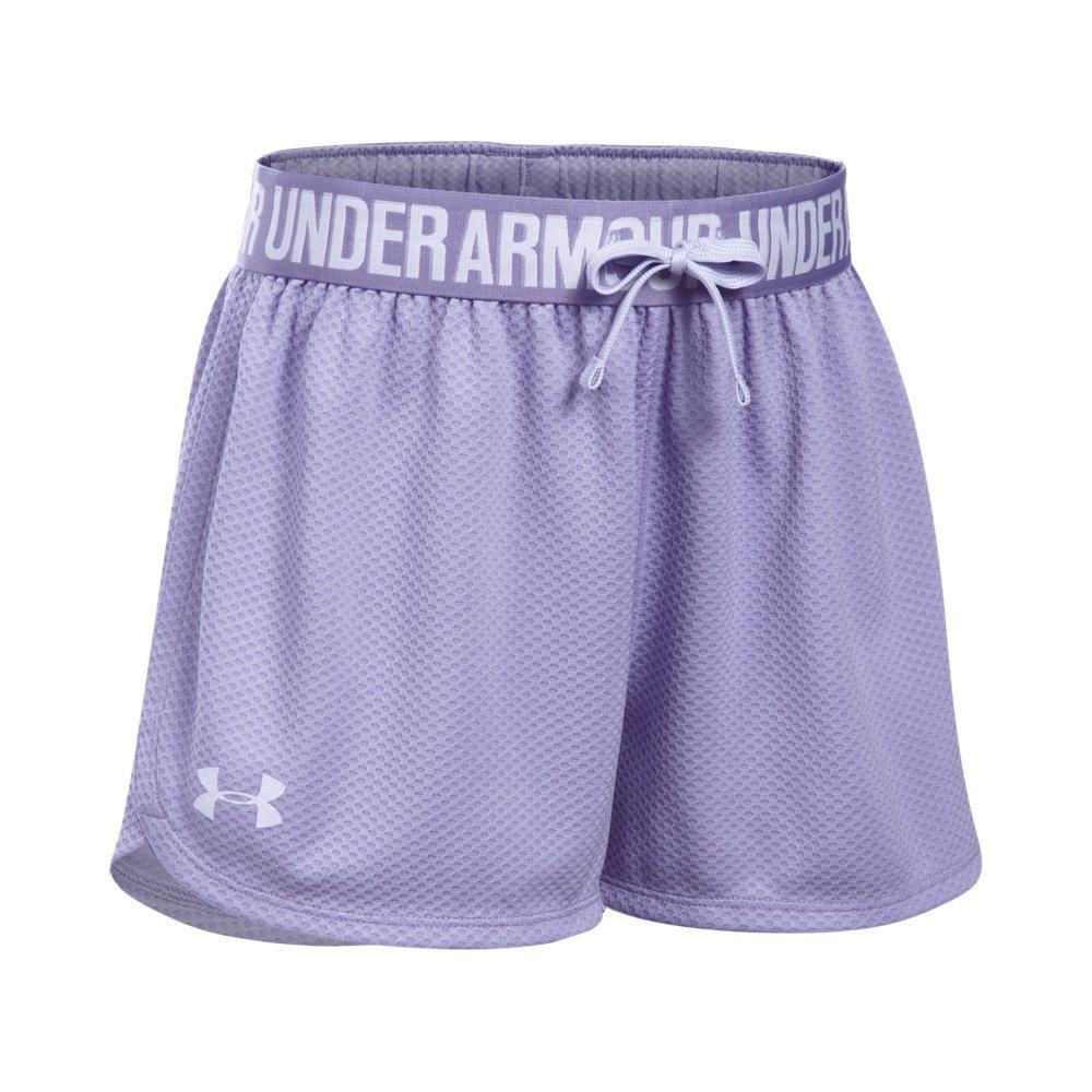 Under Armour Girls' Play Up Mesh Shorts, Dark Lavender /Lavender Ice, Youth X-Large by Under Armour