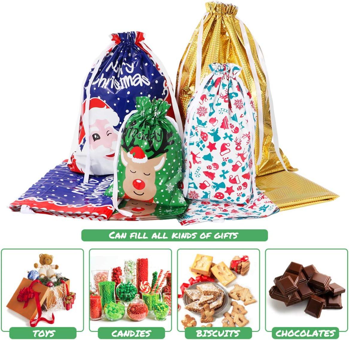 20,3 x 25,4 cm /– Lot de 12 /– Noir Lot de 12 sacs /à cordon de serrage en coton m/élang/é pour ranger des cadeaux