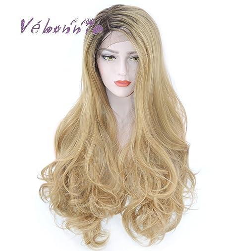 vébonnie moda Ombre Rubio encaje peluca delantera para las mujeres blancas marrón raíces miel Rubio Ondulado