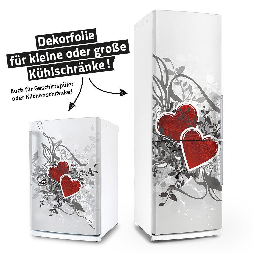 Kühlschrank- & Geschirrspüler-Aufkleber --- Retro Love Herzen --- Dekor Folie Klebefolie Front Sticker posterdeluxe