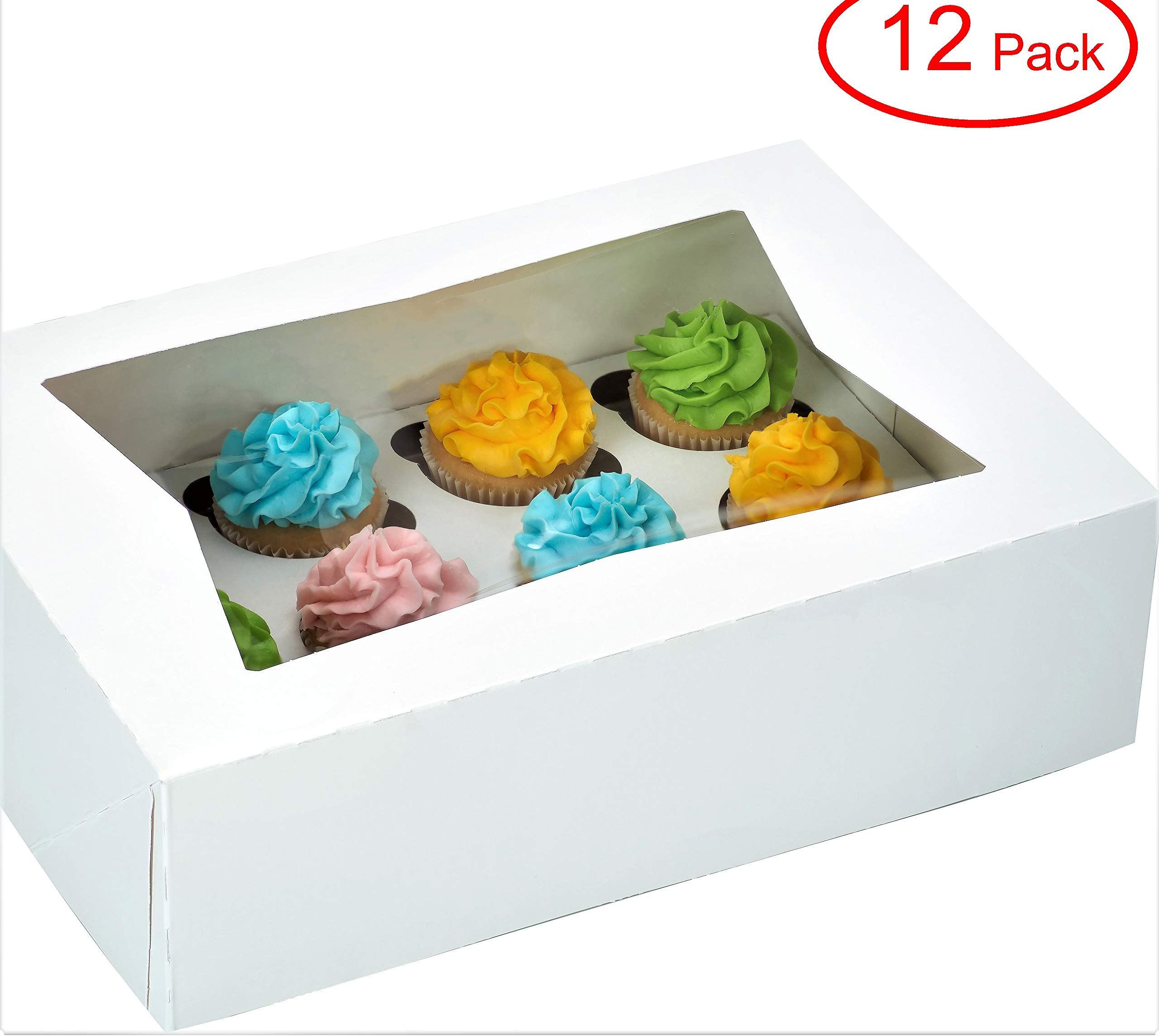 Window Bakery Cupcake Box With Insert 14'' x 10'' x 4'' Fits 12 Standard Size Cupcakes and Muffins - 12 Sets