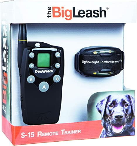 DogWatch BigLeash S-15 Remote Dog Training Collar Safe and Effective E-Collar with Two-Way Communication up to Mile, 15 Adjustable Stimulation Levels Plus Tone and Vibration, Waterproof, Recharge