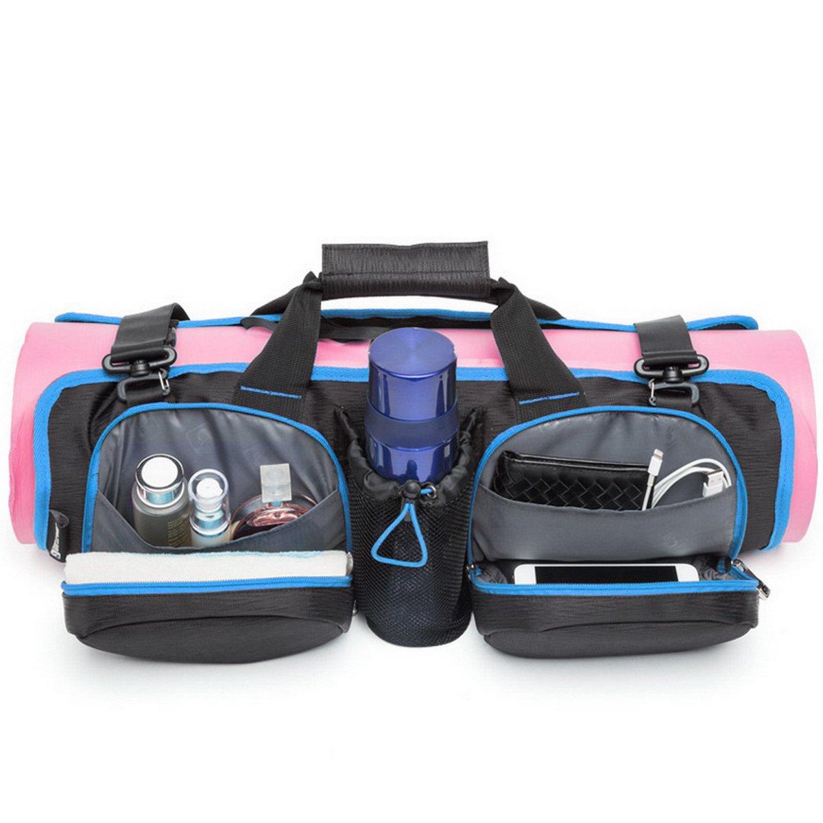 Acmebon Bolsa de Yoga Para Esterilla Plegable Multifuncional de Gran Capacidad de Hombro Bolso de Yoga Gimnasio Deportes Port/átil Para Hombres y Mujeres Negro y azul 607