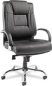 Alera Ravino Big & Tall Series High-Back Swivel/Tilt Leather Chair, Black