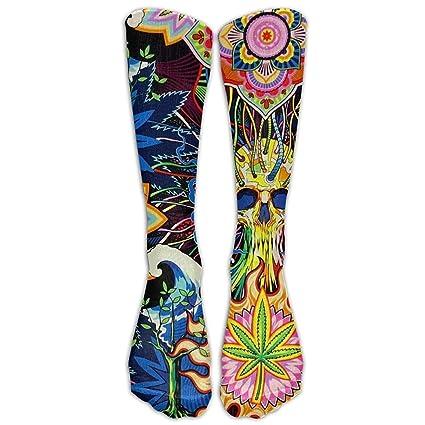 Psychedelic Pot Leaf calavera Unisex Athletic Protección calcetines largos calcetines