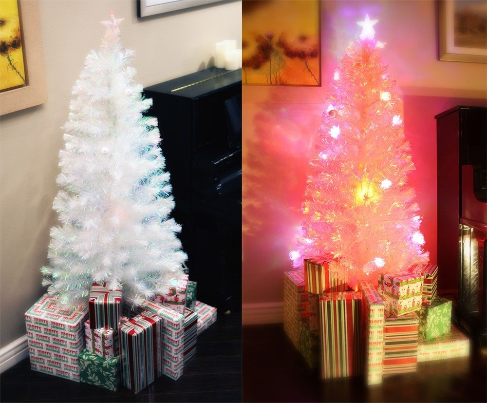 6.5 FT PRE-LIT MULTI COLOR LED LIGHTS & FIBER OPTIC WHITE CHRISTMAS TREE WITH STAR TOPPER