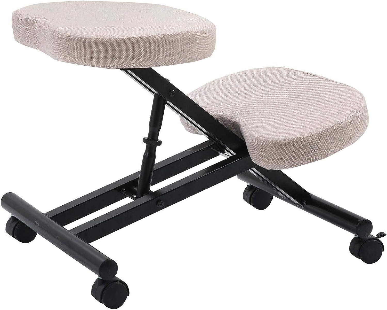 Tabouret ergonomique ROBERT siège ajustable repose genoux chaise professionnelle sur roulettes sans dossier posture droite relaxation massage, structure en métal noir et assise rembourrée beige