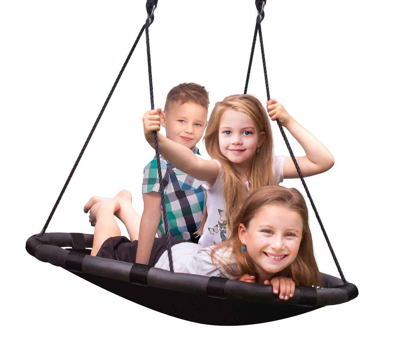 Sorbus Spinner Swing – Kids Indoor/Outdoor Round Mat Swing – Great for Tree, Swing Set, Backyard, Playground, Playroom – Accessories Included (40'' Mat Seat)