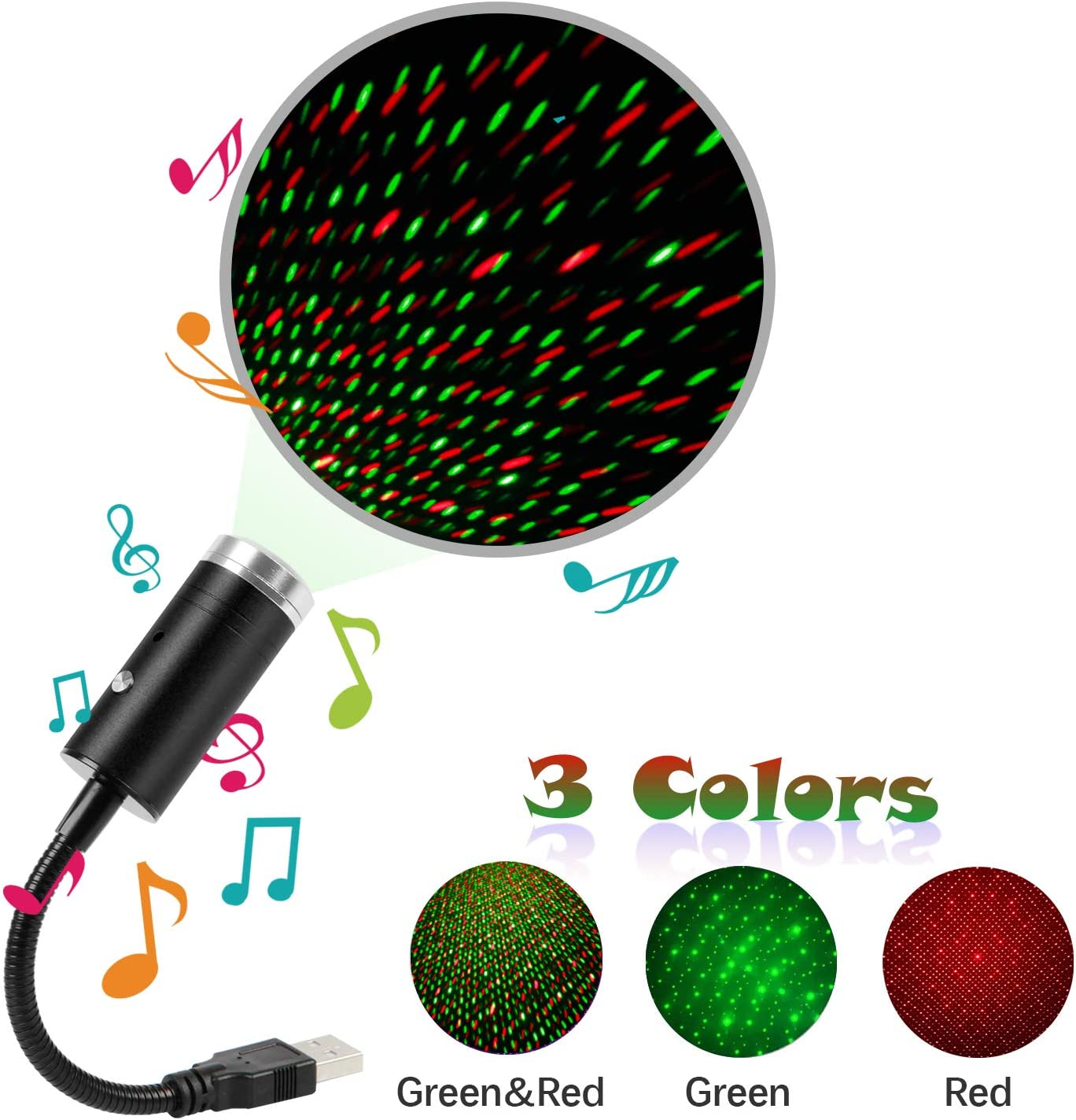 USB Star Light Sound Activated,3 Colors + 9 Lighting Effects,Romantic Car Ceiling Interior Light,Atmosphere Decorations for Car Interior,Ceiling, Bedroom, Party and More ( Green&Red )