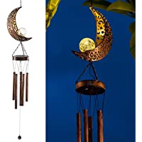 LeiDrail Solar Wind Chimes Outdoor LED Light for Outside Garden Moon Crackle Glass Globe Metal Lights Waterproof Warm…