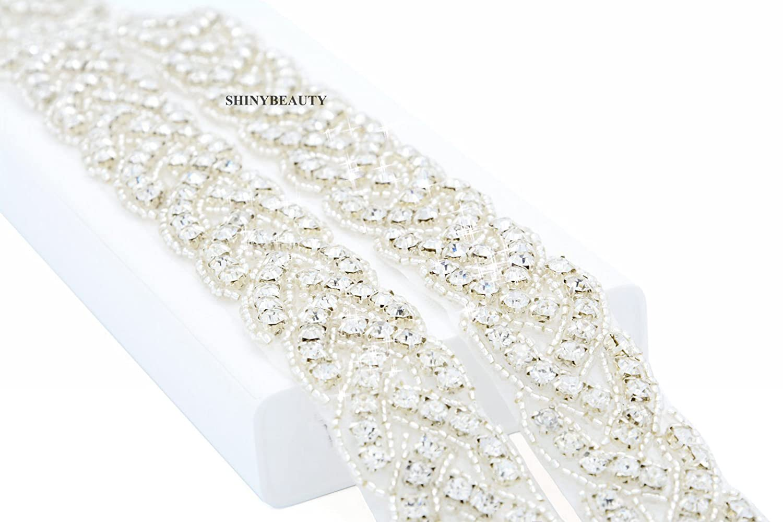 ShinyBeauty RA027 - Cinta con piedras de estrás, diseño para vestidos de novia plateado Silver Ribbon