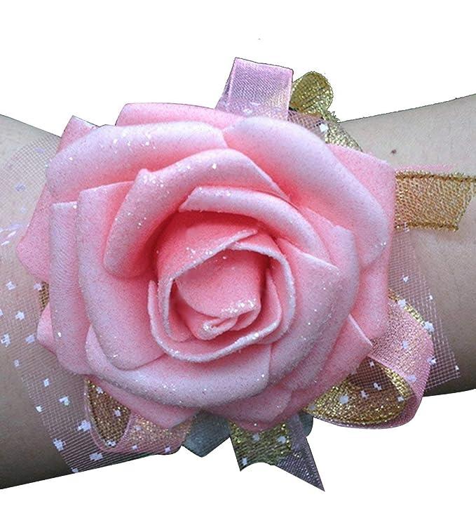 fb0423341dc2 Calcifer - Juego de 10 pulseras rosas para dama de honor  Amazon.es  Hogar