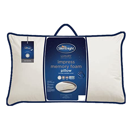buy online 7d36a b9f4a Silentnight Impress Deluxe Memory Foam Pillow, Firm, Polyester, White, 70 x  39 cm