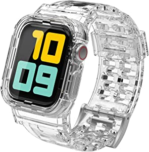 AhaStyle Crystal Clear iWatch Band Strap with Rugged Bumper Case Accessories Compatible with Apple Watch 42mm 44mm, iWatch Series SE/6/5/4/3/2/1(42mm/44mm)