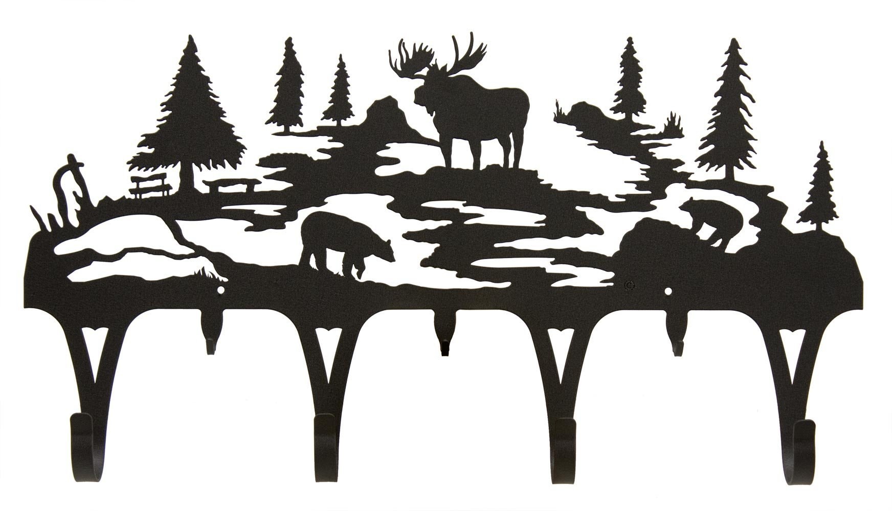 Wildlife Coat Hook with Moose, Bear and Evergreens - Wall Mount - 30'' by Innovative Fabricators, Inc.