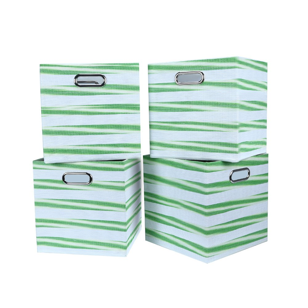 Foldable Cube Storage Bins for Home School Office Pack Of 4 Green