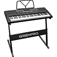 GreenPro 61 Key Portable Electronic Piano Keyboard LED Display with Adjustable Stand & Music Notes Holder