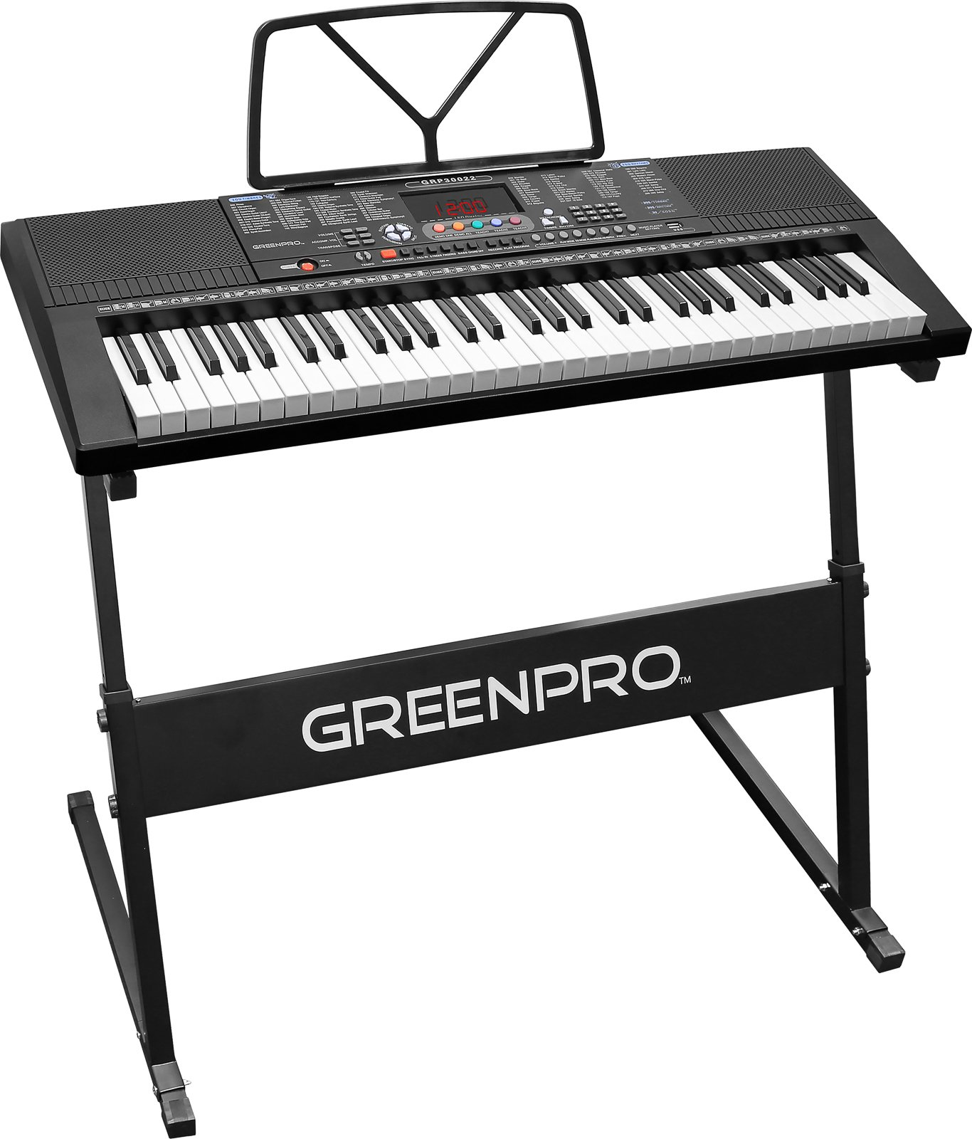 Click N' Play GreenPro 61 Key Portable Electronic Piano Keyboard LED Display with Adjustable Stand and Music Notes Holder