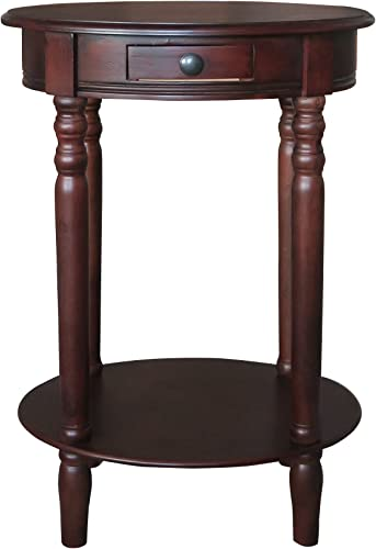 Urbanest Woodbury Oval Accent Table with Drawer, Cherry