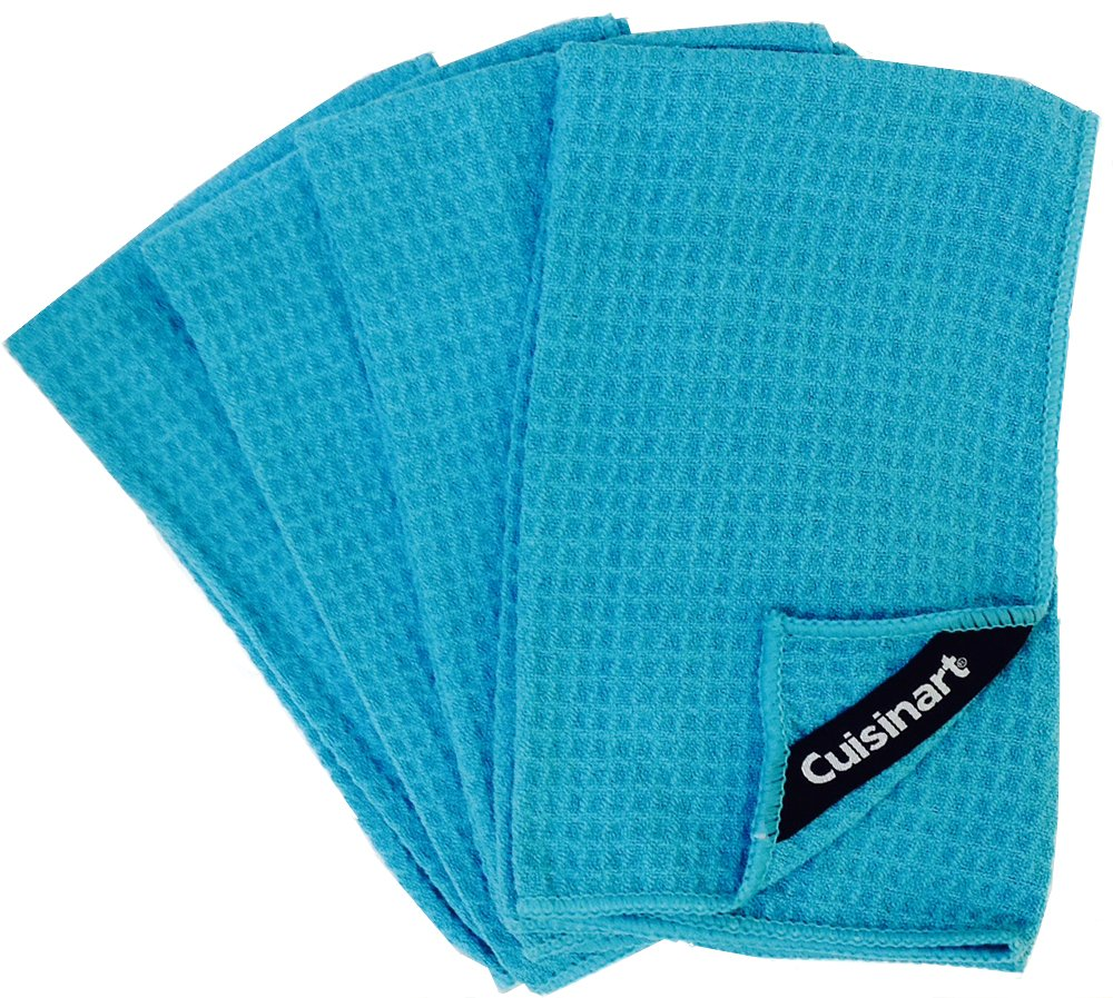 Cuisinart Microfiber Waffle Bar Mop Dish Towels, 96 Pack, 16 x 19 Inches, Blue
