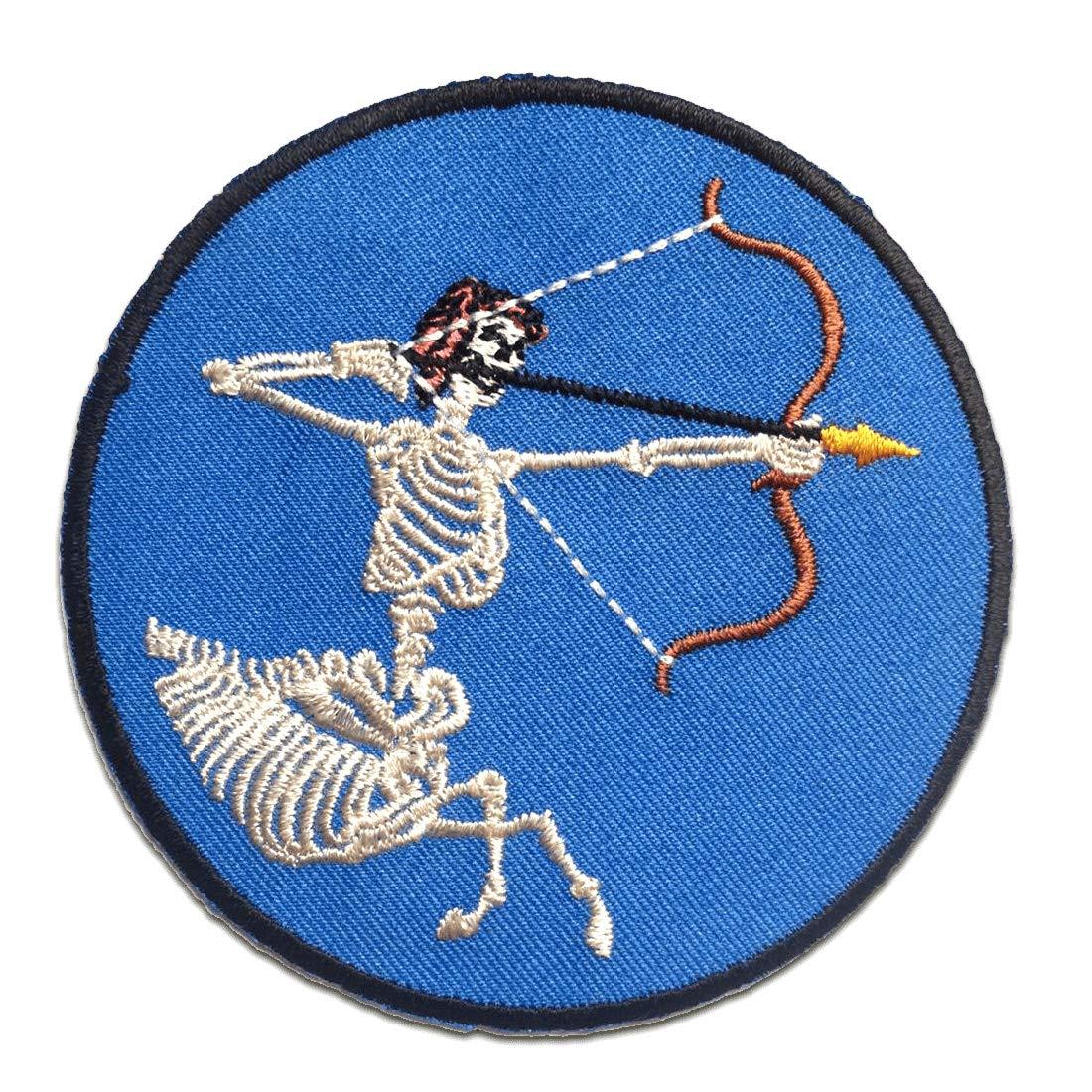 blau Skelett mit Bogen Aufnäher // Bügelbild Ø8.7 cm Patches Aufbügeln