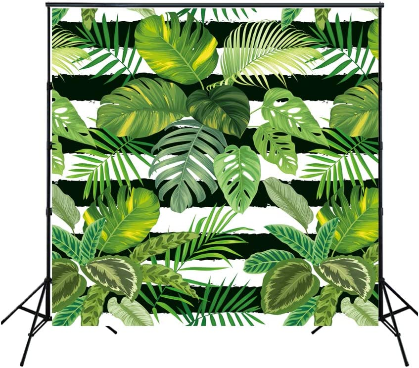 Haoyiyi 10x8ft Tropical Party Decorations Backdrop Green Palm Leaves Flowers Background Photography Photo Newborn Baby Shower Tourist Honeymoon Photoshoot Digital Wallpaper Portraits