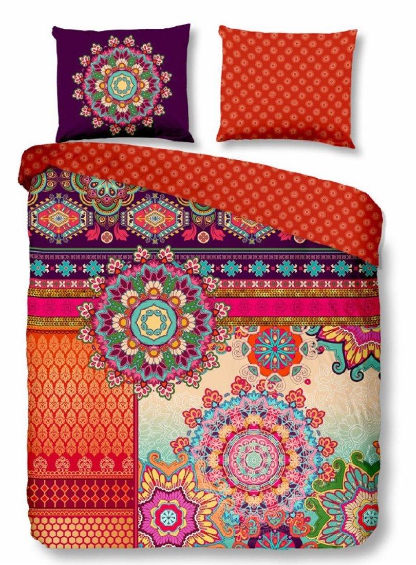 HIP Baumwoll Satin Bettwäsche SHERHIA 5366 Ornamente Mandalas Exotische Bordüren Orientalischer Mustermix 200x200 cm + 2X 80x80 cm Terra - Purple