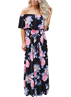 34ffc979a748 Womens Off The Shoulder Ruffle Party Dresses Side Split Beach Maxi ...