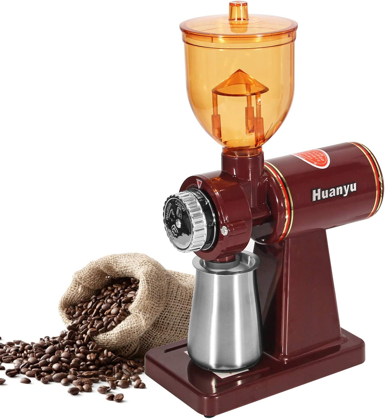 Huanyu Electric Coffee Bean Grinder 250G Commercial&Home Milling Machine 200W Grinding Machine for Beans Nuts Spice Automatic Burr Grinder Professional Miller 8 Fine - Coarse Grind Size Settings Stainless Steel Cutter Pulverizer (110V, Red with Anti-jumping Beans Hopper)