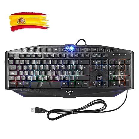 TOPELEK Teclado Gaming de Membrana con Cable, 7 Color Retroiluminado y Teclas Desmontables, Anti