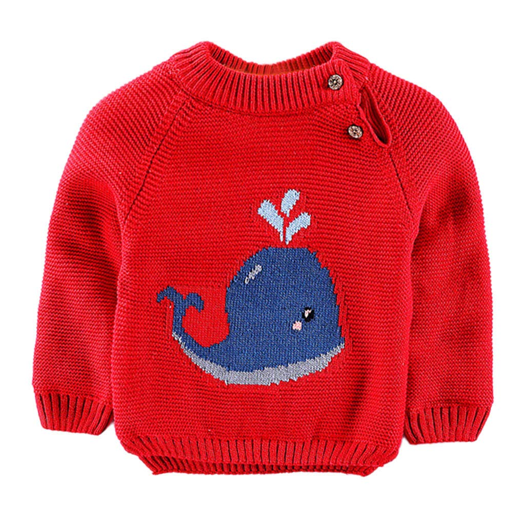 Kids Baby Girl Cartoon Cetacean Knitted Pullover Newborn Round Neck Long Sleeve Plush Sweater Toddler Child Cute Print Patchwork Knitwear Chic Blouse by Vovotrade Age for 0-4 Years Old
