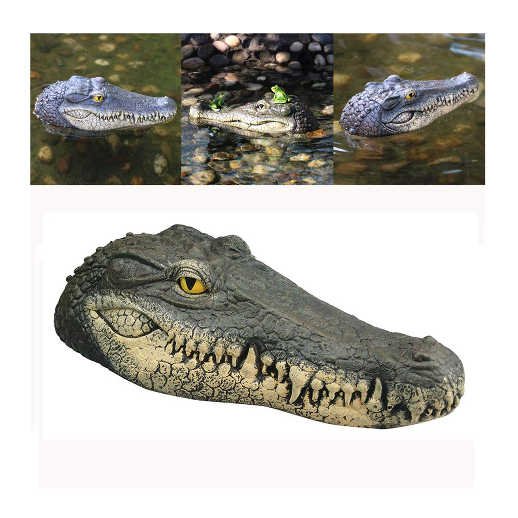 Swyss Floating Crocodile Head Water Decoy - Garden or Pond Art Decor for Goose, Predator, Heron, Duck Control - 13.38 x 5.9 x 3.35 Inches by Swyss