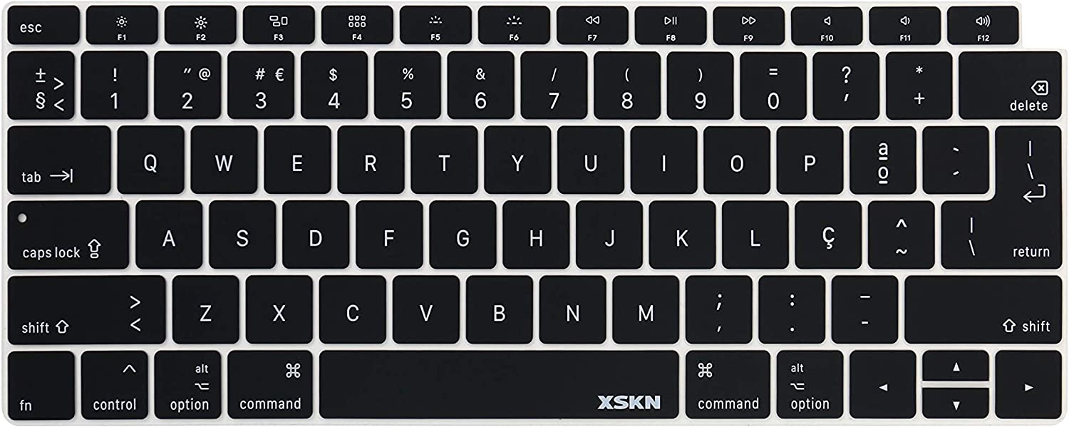 "XSKN Portuguese Language Keyboard Cover Compatible New MacBook Air 13"" 13.3-inch with Touch ID Retina Display (A1932, 2018 Release) Soft-Touch Ultra Slim Silicone Protective Skin US&EU Version (Black)"