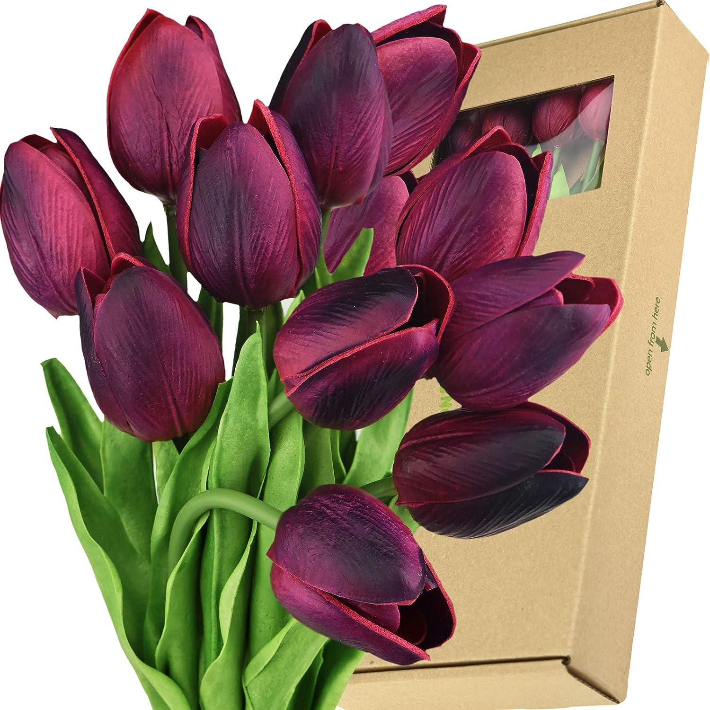 FiveSeasonStuff Tulips Artificial Flowers | Real Touch | Wedding Bouquet  Home Décor Party | Floral Arrangements | 15 Stems (Mulberry Maroon)